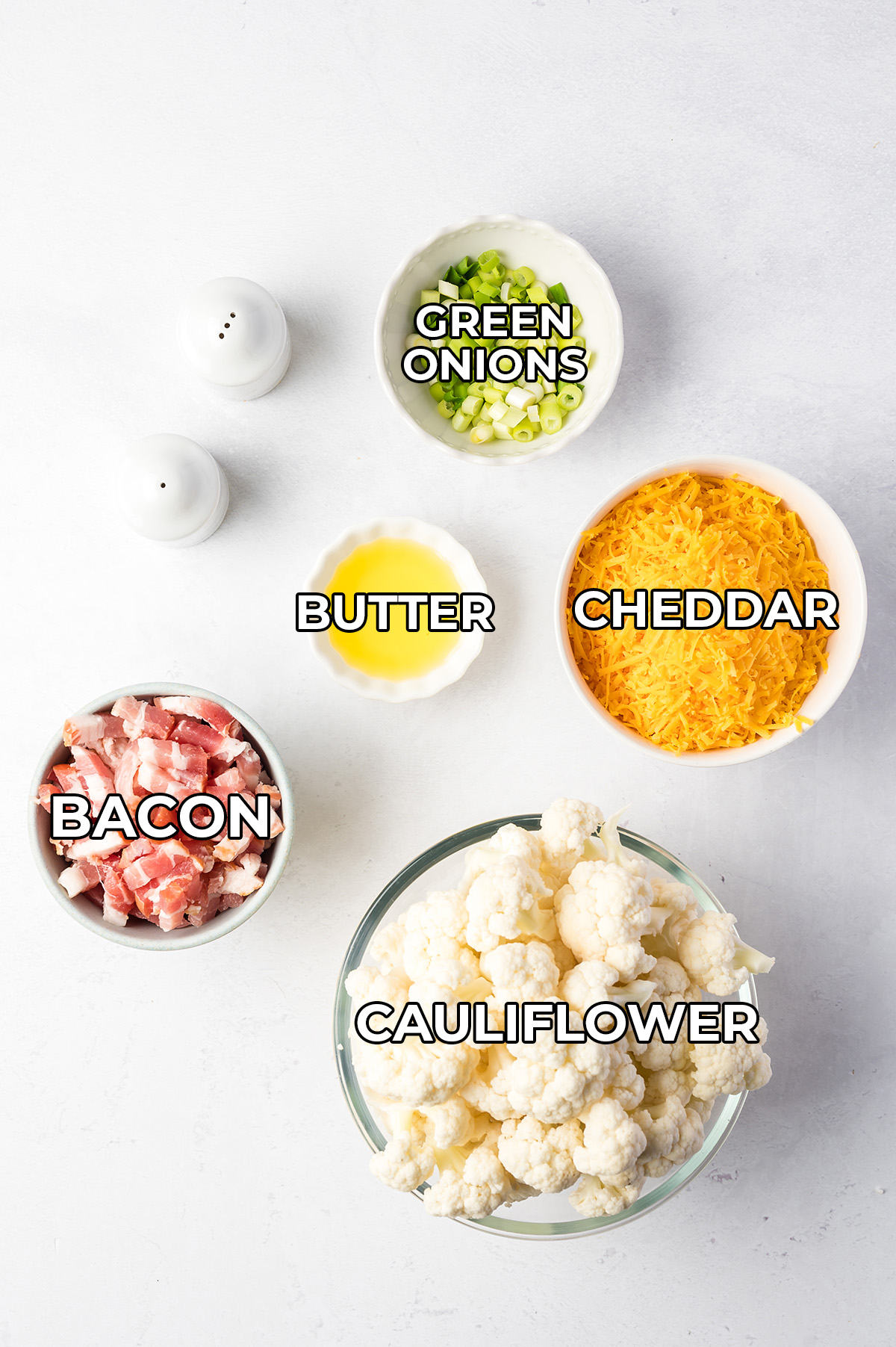 ingredients for loaded cauliflower all spread out