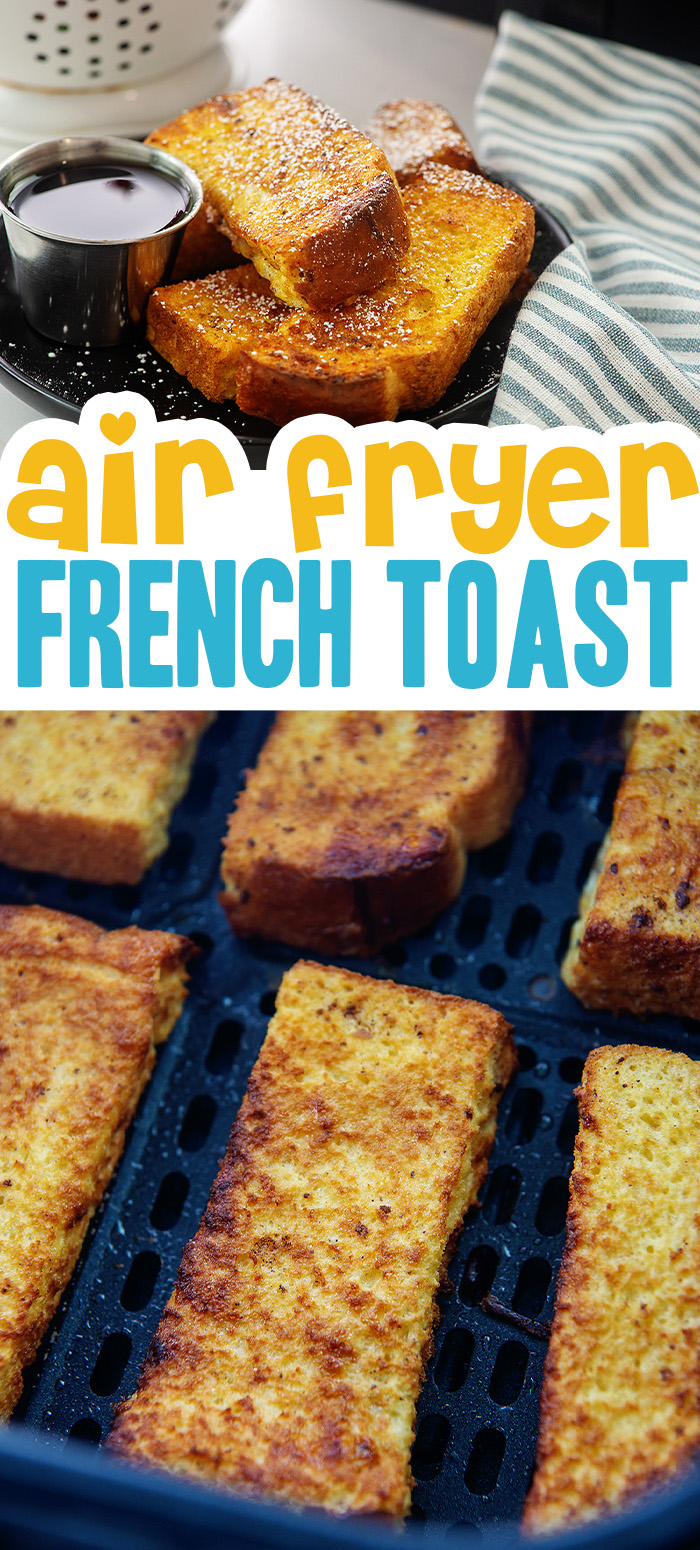 French toast sticks are so easy to make in the air fryer! They turn out perfect every time and you don't even have to flip them halfway through cooking. Couldn't be easier and makes a great breakfast to eat today or freeze for later!