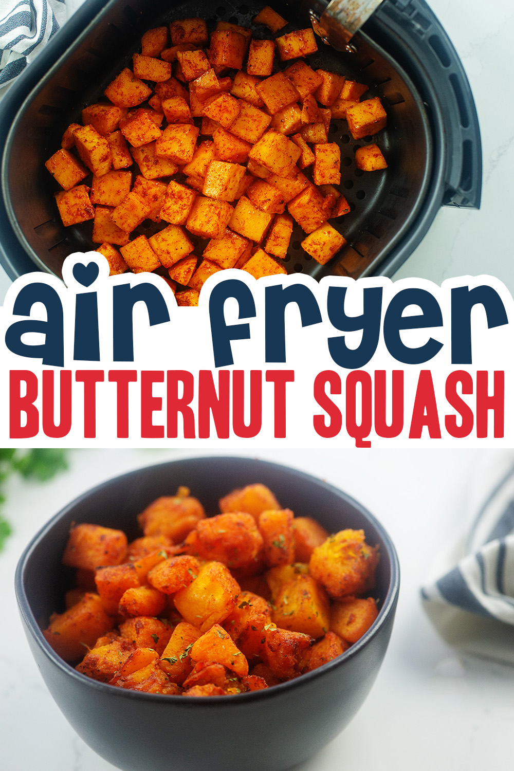 This air fryer butternut squash was easy to make and the result was magnificent!