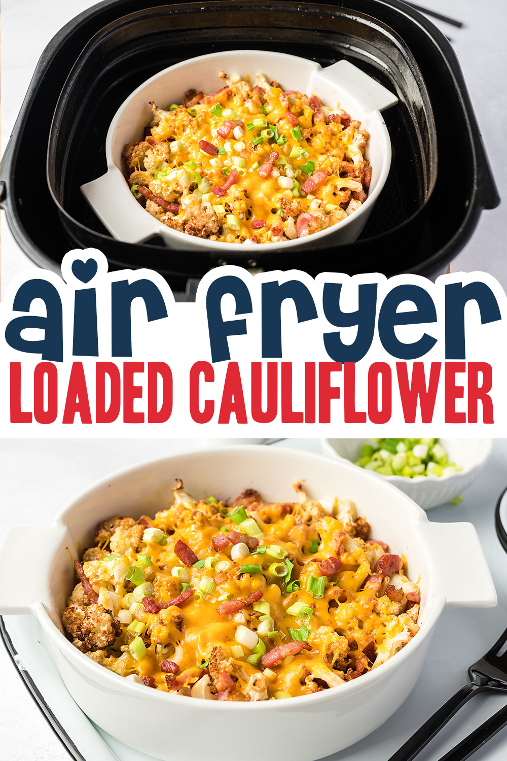 Try this air fryer cauliflower recipe as a low carb alternative to potatoes.  It tastes great to start with, but to make it even better we cook the cauliflower with the bacon and cheese!