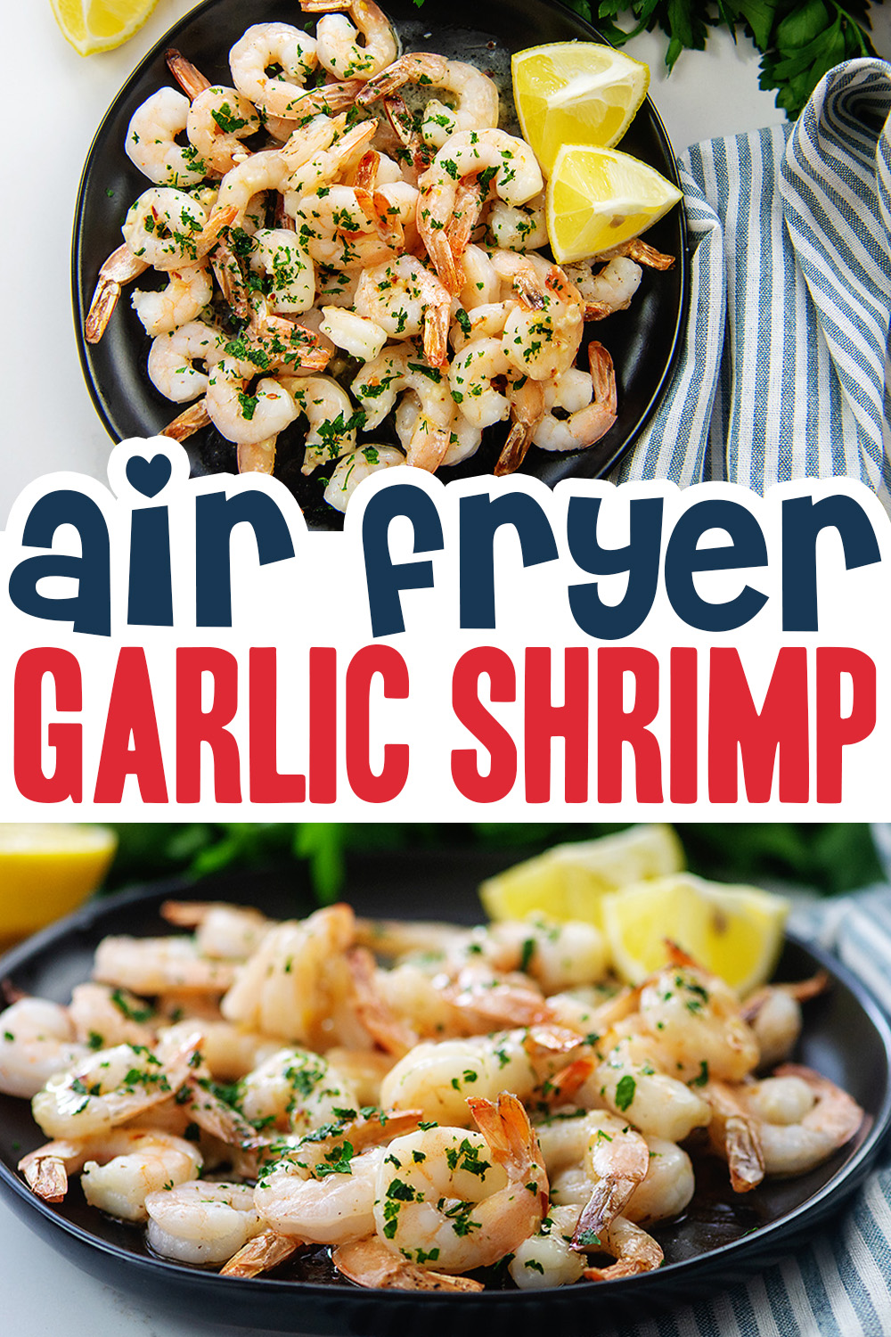 Low carb, keto, healthy, and easy! This frozen shrimp recipe is ready in just 10 minutes in the air fryer!