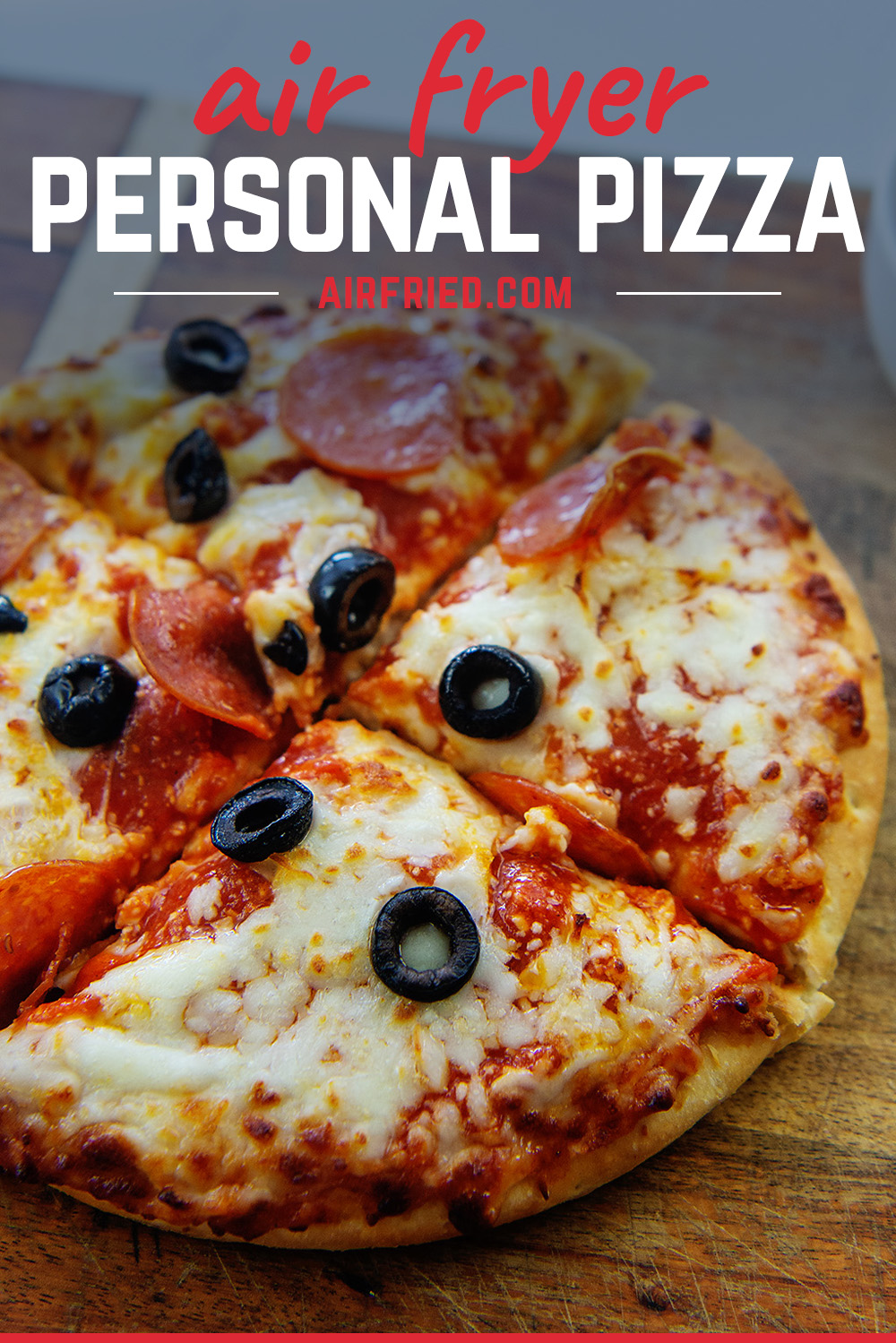 The air fryer personal pizza takes only about 7 minutes to cook!  Plus you get to choose your favorite toppings.