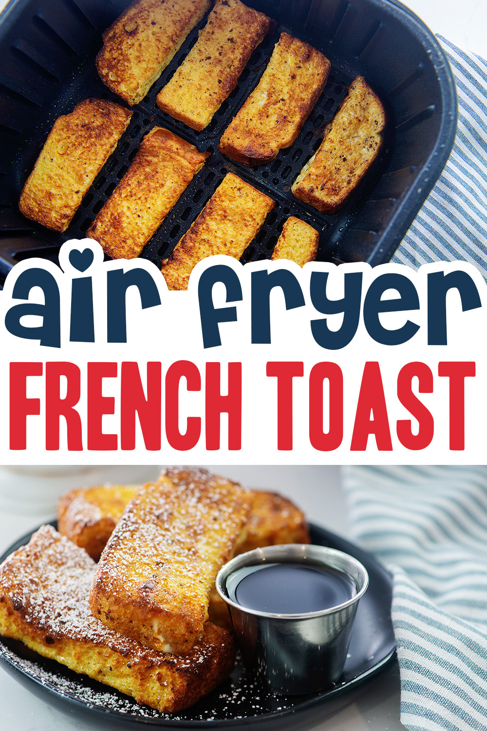 Craving a sweet breakfast?  Try these French toast sticks we made in the air fryer!