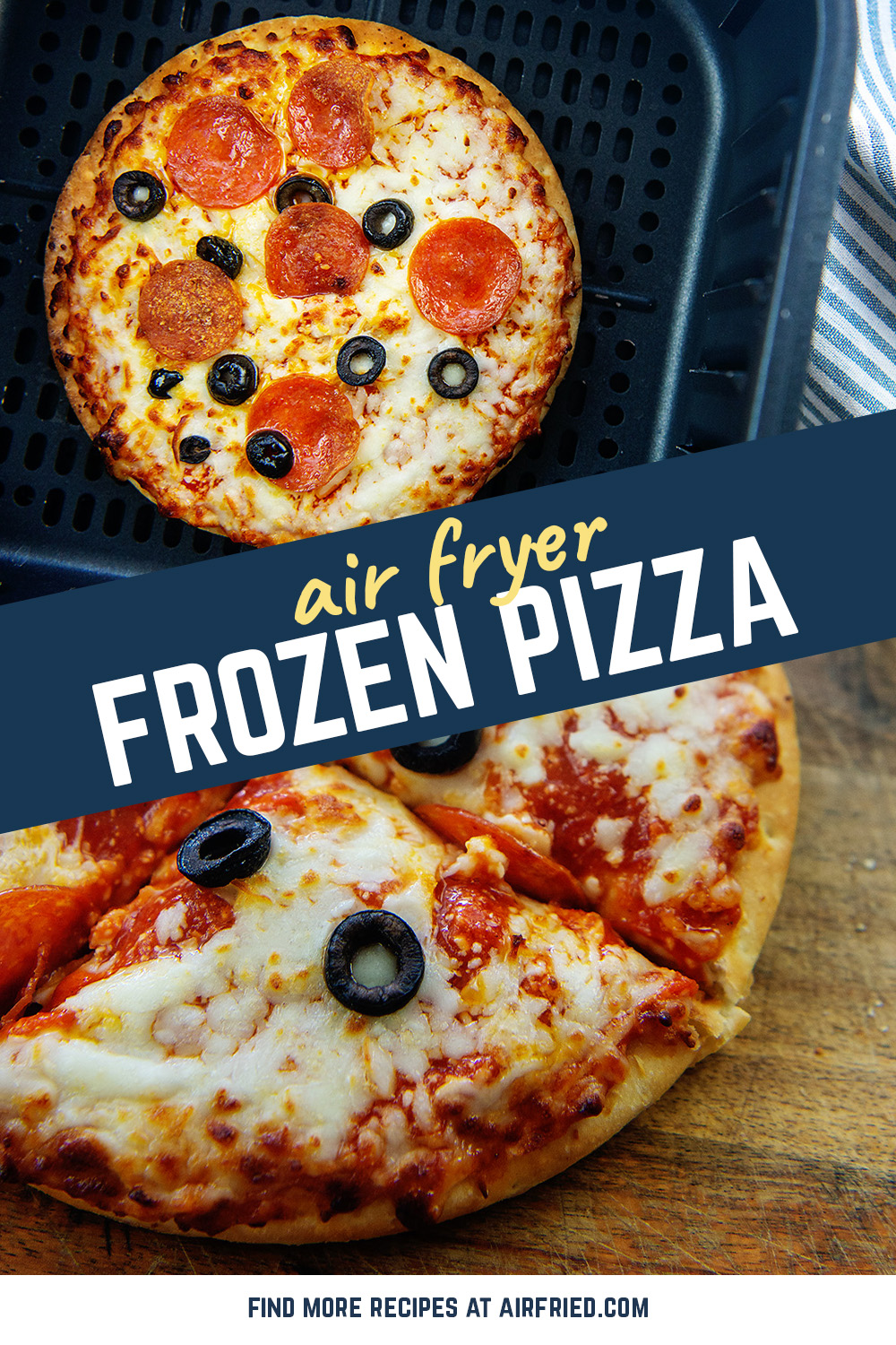 Air fryer frozen pizza is fast, convenient, and easy to personalize with your favorite toppings!