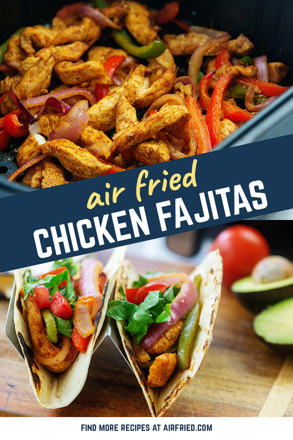 This chicken fajita recipe is cooked in the air fryer for a crisp filling to your fajitas!