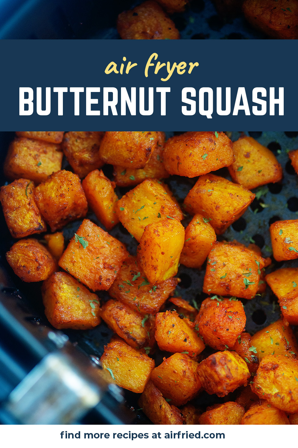 We are loving this butternut squash from the air fryer!  We serve it with pasta and with sausages sometimes.