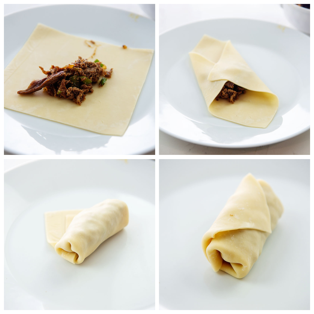 steps showing how to fold an egg roll