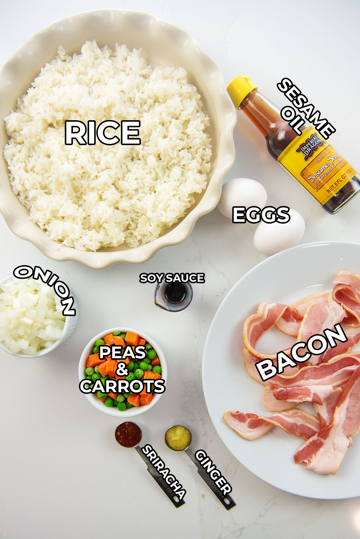 Ingredients for fried rice in the air fryer.