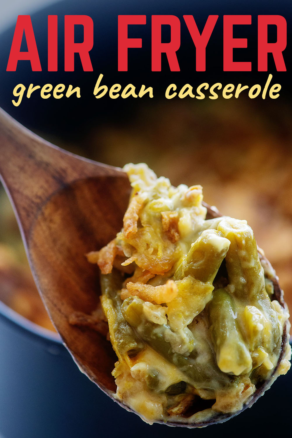 This green bean casserole is a wonderful texture with the soft green beans and the crunchy fried onions.  It is perfect!