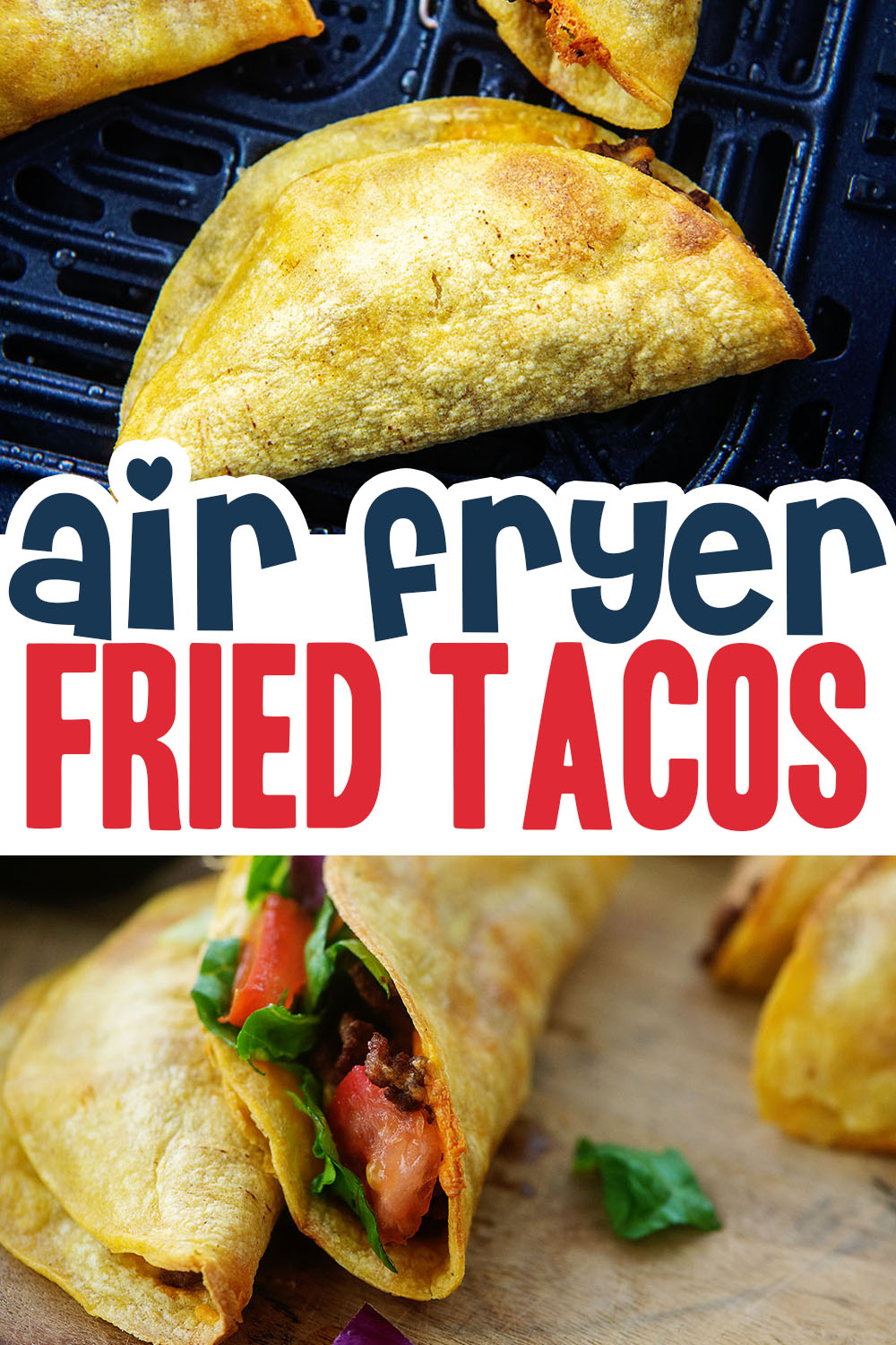 Air fryer fried tacos are less greasy than traditional fried tacos, but still taste absolutely amazing!