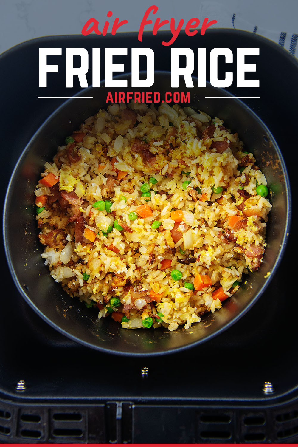 We had so much fun making our fried rice in the air fryer.  Just tossing in the ingredients and experimenting with it a bit, was very satisfying!
