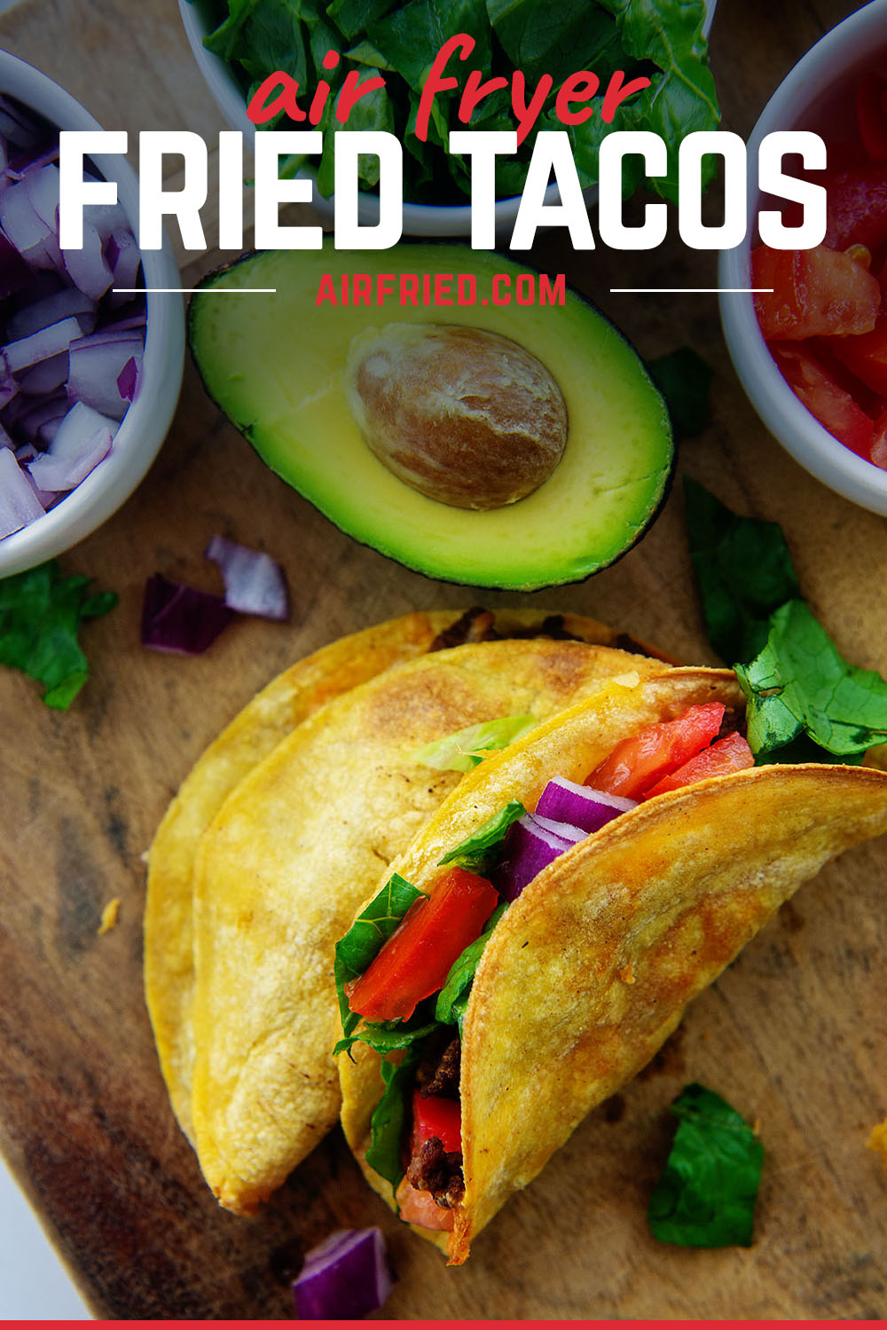 The air fryer tacos are much healthier than fried tacos since they have so much less grease in them!