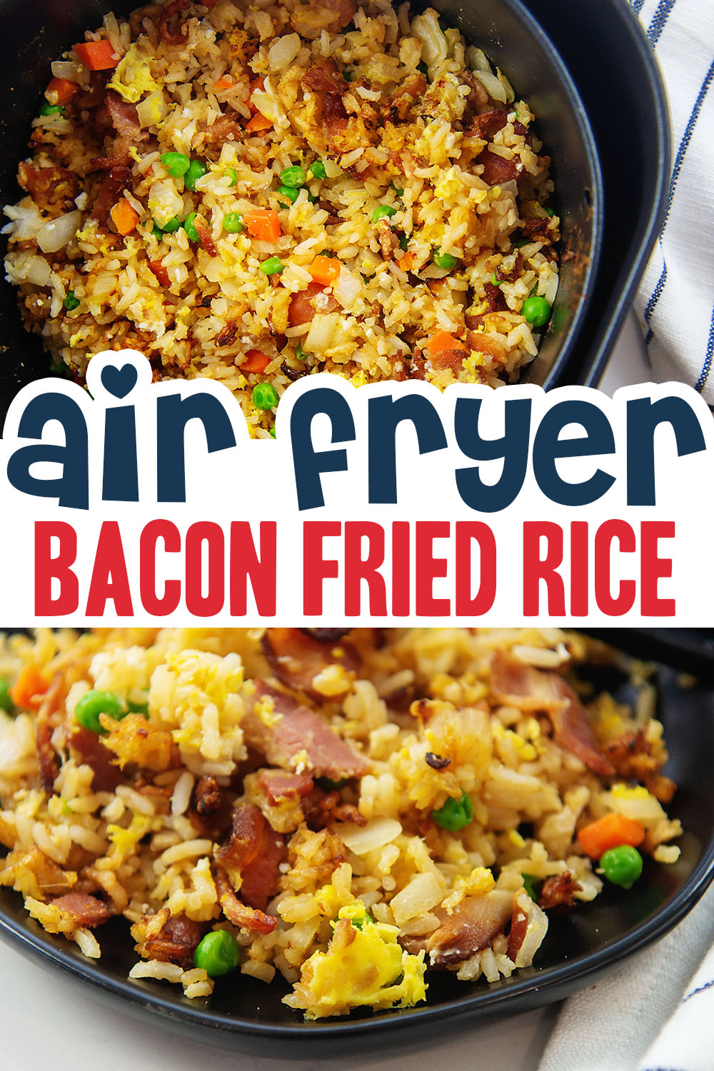 We love our fried rice so we decided to try and make it in our air fryer.  The results were just as good as cooking it in a skillet!