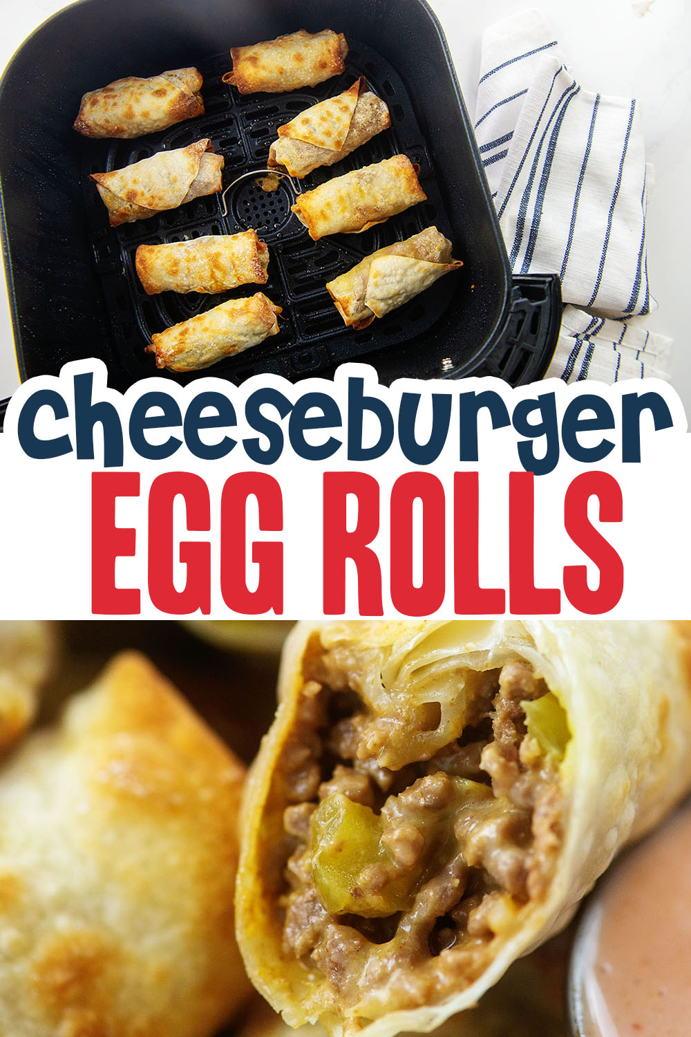 Cheeseburger egg rolls are a great way to have a finger food lunch with hardly any clean up!  Great for eating in your car even!
