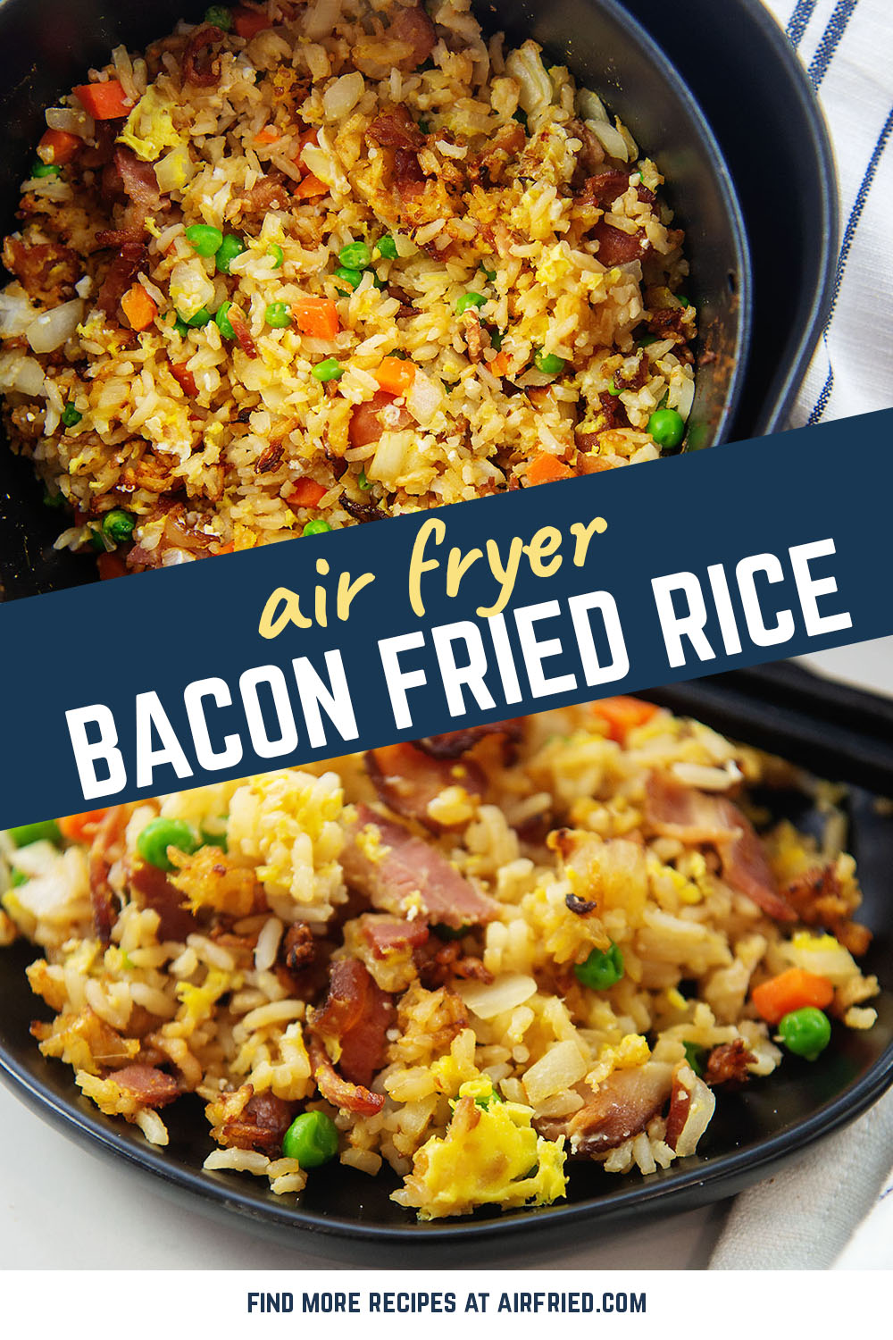 Try our recipe for bacon fried rice in your air fryer for a fun air fryer recipe!