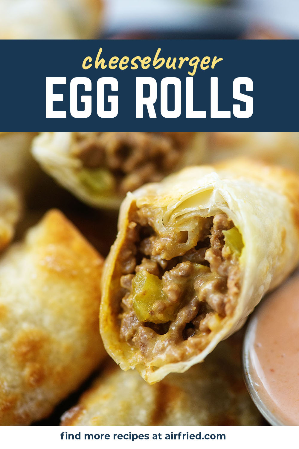 Egg rolls and cheeseburgers get fused together in the air fryer with this great recipe!