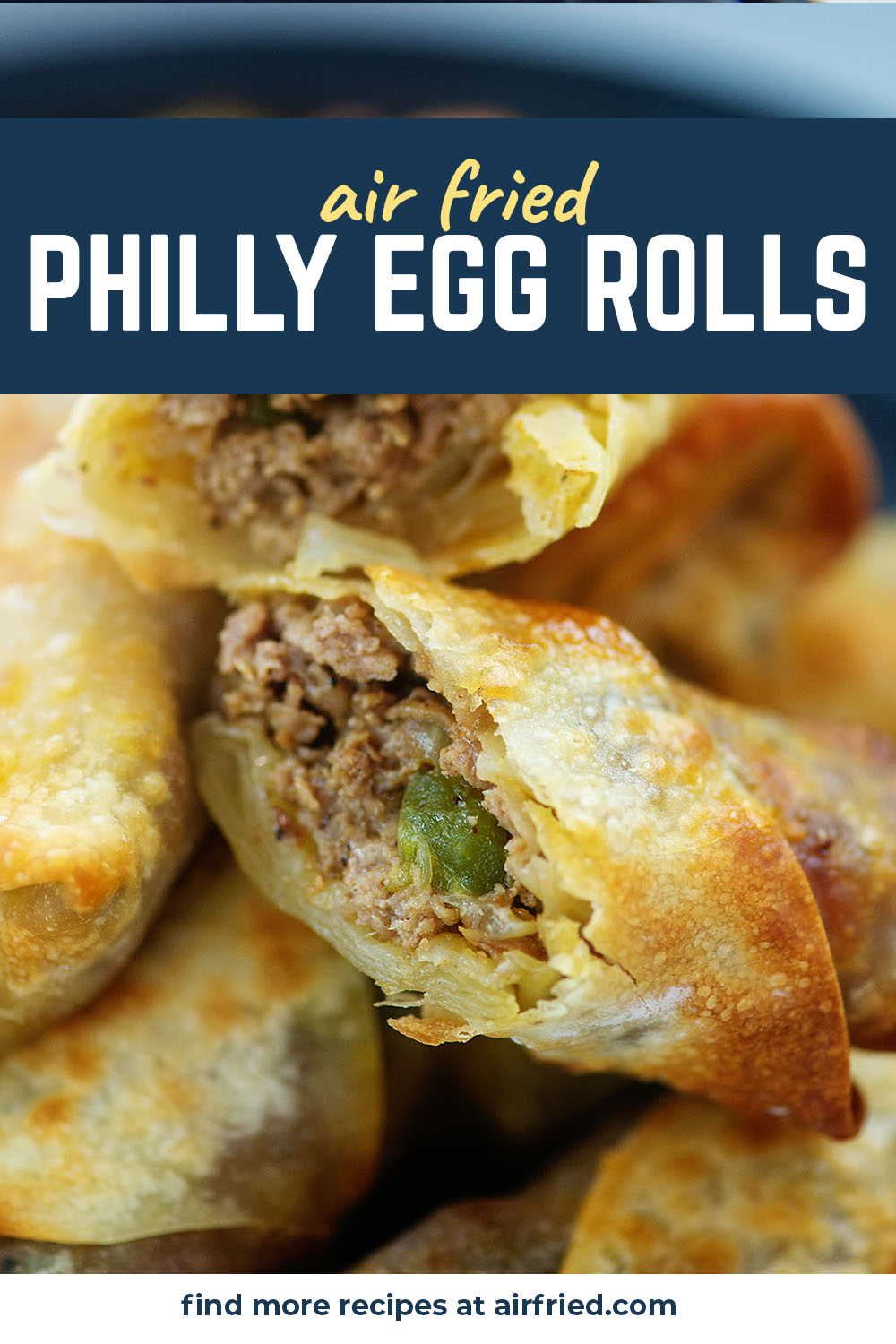 Crispy egg rolls with a wonderful philly cheesesteak center!