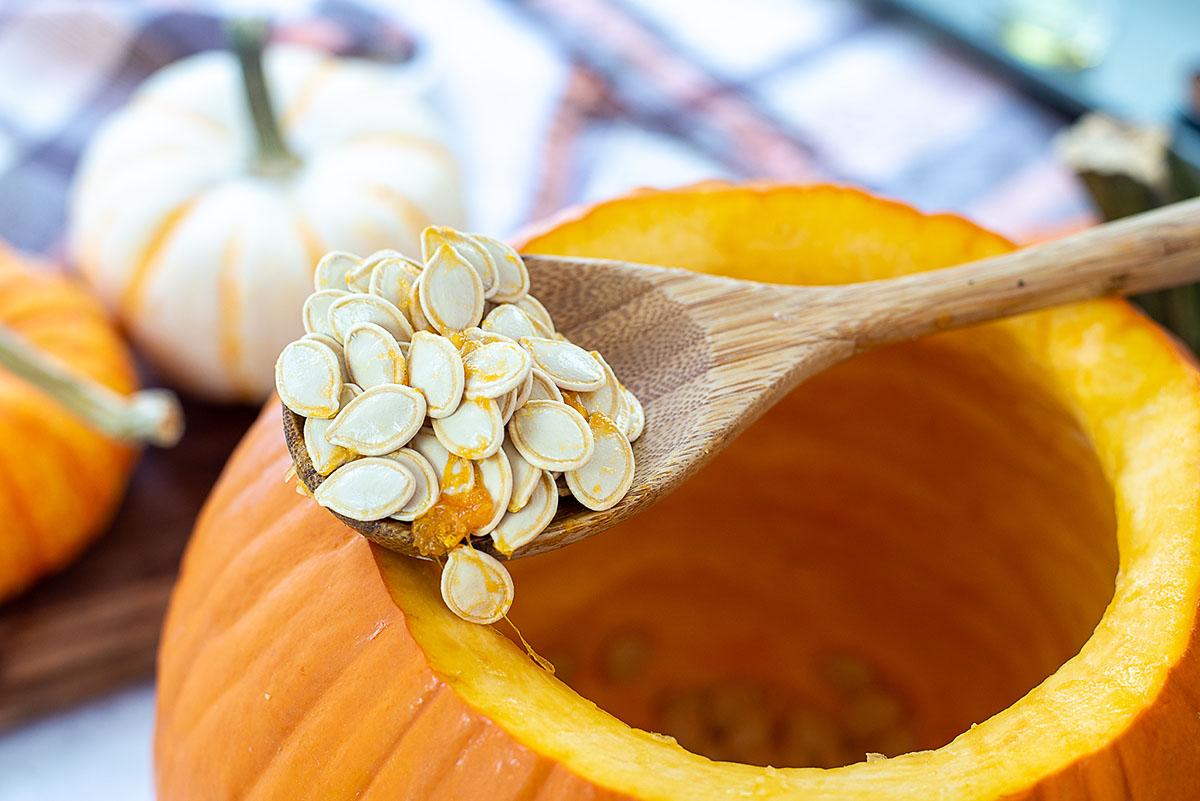 A wooden spoon full of pumpkin seeds on top of a pumpkin