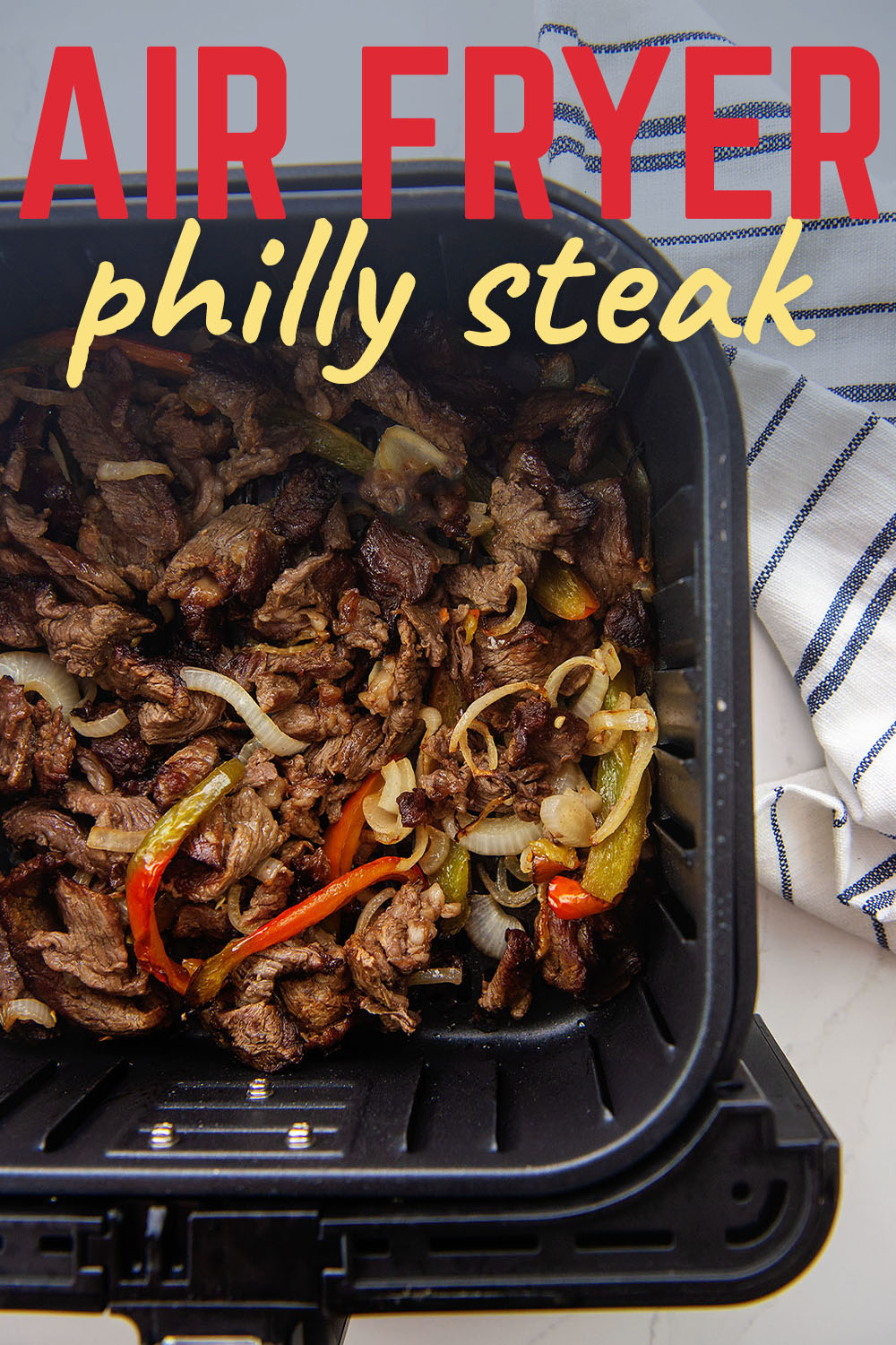 We use our air fryer to cook all the wonderful ingredients of our Philly cheesesteak to perfection!  Very easy, and totally yummy!