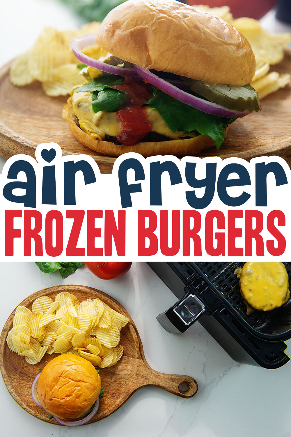 Frozen burgers cook great in an air fryer!  Just toss in the frozen patty, no need to thaw!