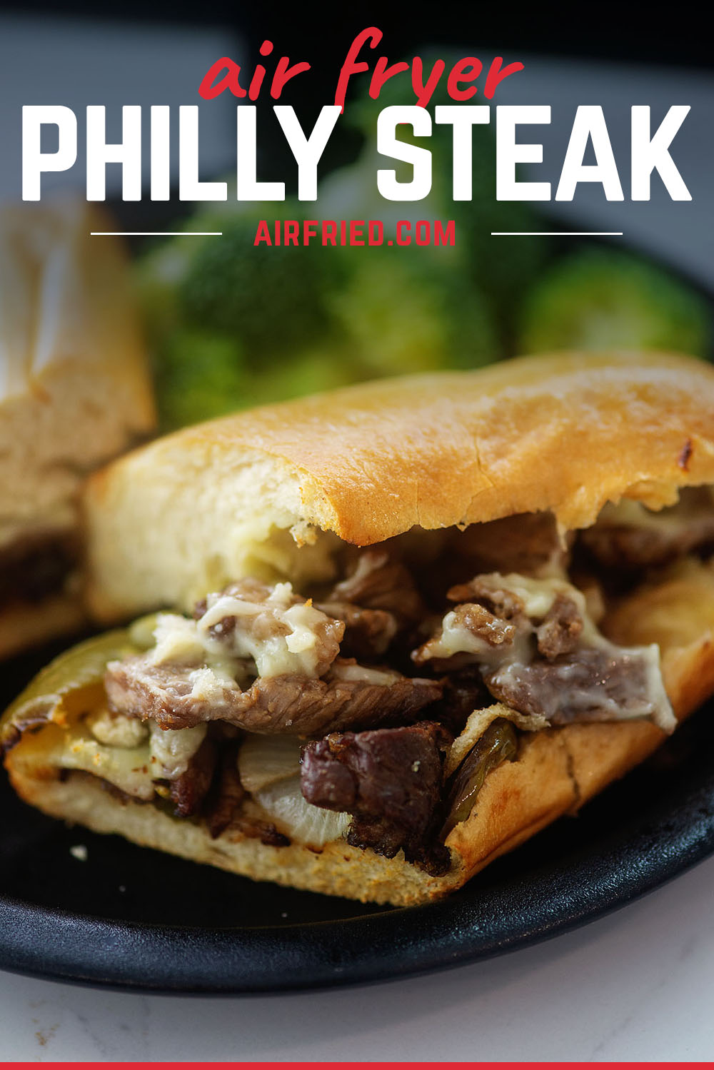 With our air fried Philly steak recipe we cook everything and then continue to use the air fryer to make the sandwich an almost steamy finish!